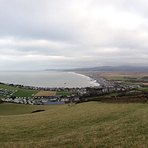 Borth beach and town