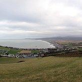 Borth beach and town