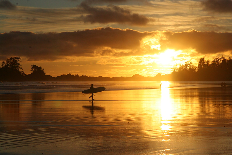 Surfer in March at Sunset, South Chesterman Beach