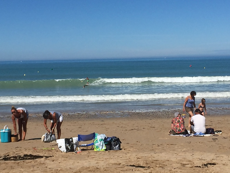 Small summer swell looking decent on the shorebreak, Carolles