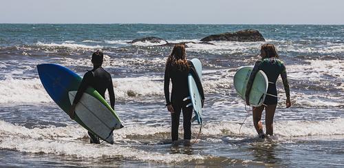 Three Surfers surveying the waves at Second Beach, Sachuest Beach (2nd Beach)
