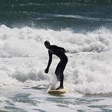 Punchy rough waves on a longboard, Salisbury Beach