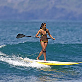 Elle is having fun on SUP at the Lahaina Harbor, Lahaina Breakwall/Harbour