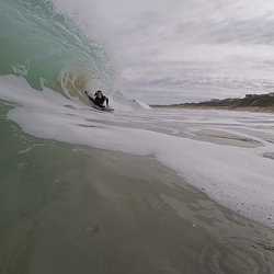Me getting barreled at boomer beach photo