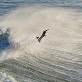 Air surfing at Middle Peak, Steamer Lane-Middle Peak