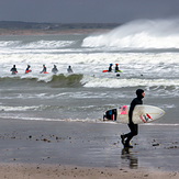 Surfer and wild swimmers, Aberdeen