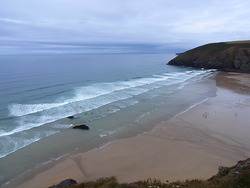 Ideal conditions for surfing at Mawgan Porth, Cornwall photo