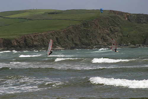Windsurfers and kite surfer - Bigbury, Devon, Bigbury Bay