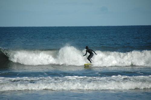 Enjoying the surf at Yellowcraig, Yellowcraig Beach