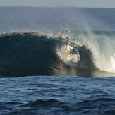 DANIEL MAWKES IN AN EARLY MORNING TUBE, Aganoa Beach