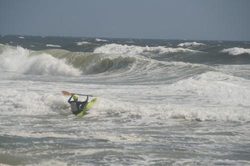 Surf Kayaking from Tropical Storm Leslie, Jones Beach State Park