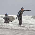 First hardboard session, Druridge Bay