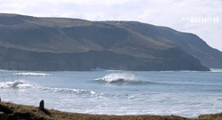 The surf check, Hells Mouth (Porth Neigwl) photo