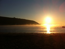 early morning mist, Maenporth photo