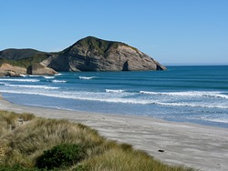Summer surf, in winter, Wharariki Beach photo