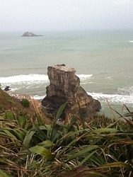 Motutara Island Surf Break, Muriwai Beach photo