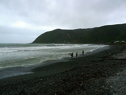 Surfers at Hongoeka Bay, The Pa photo