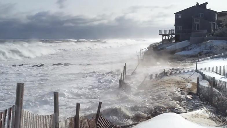 Waves breach Fordham Way, Plum Island